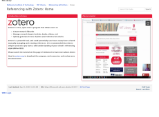 Screen shot of the Referencing with Zotero guide